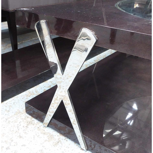 34 - LOW TABLE, contemporary design, with central glass window detail, 120cm x 121cm x 40cm approx. (with...