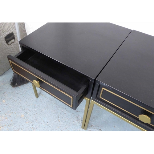 28 - SIDE TABLES, a pair, 1970's Italian style, ebonised and gilt one drawer on each, 40cm x 40cm x 49cm....