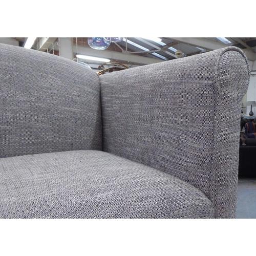 26 - AARK SOFA, light grey upholstered, 73cm x 85cm H x 175cm....