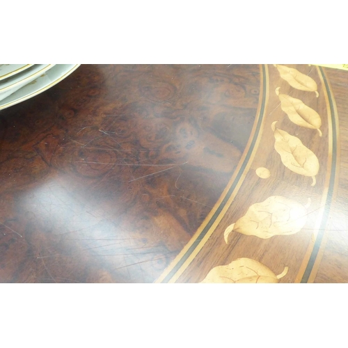 25 - DINING TABLE, burr walnut with inlaid leaf border and smoked mirrored central panel, 345cm x 105cm x...