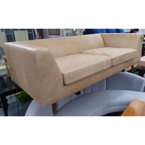 23 - ATTRIBUTED TO CONRAN SOFA, brown leather upholstered, 200cm W....