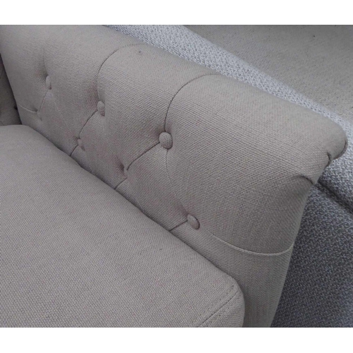 22 - ARMCHAIR, buttoned back finish, 80cm H....