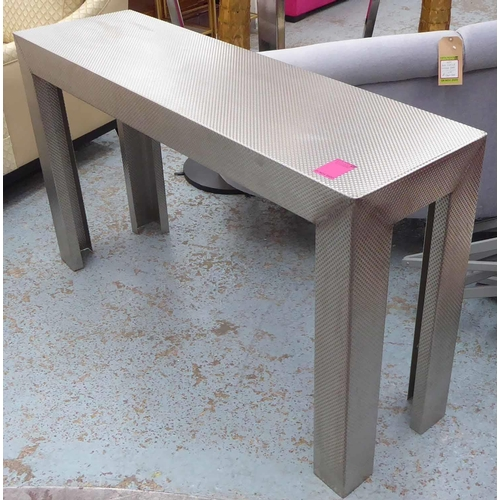 45 - CONSOLE TABLE, bespoke Industrial style, metal, 141cm W x 41cm D x 81cm H....