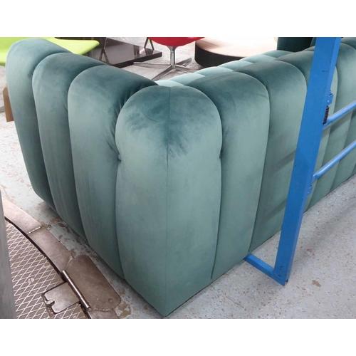 12 - SOFA, contemporary green velvet upholstered, 200cm W x 93cm D x 71.5cm H approx....