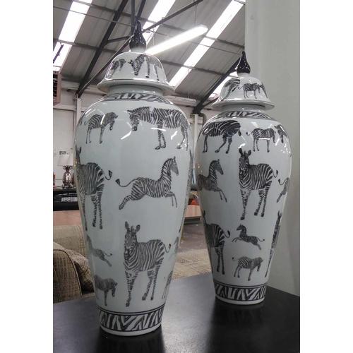 VASES, with covers, a pair, contemporary zebra print design, 60cm H. (2)
