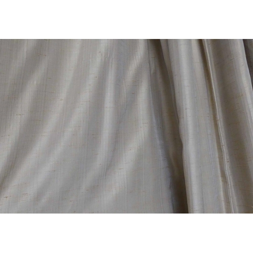 20 - CURTAINS, a pair, lined and interlined, silk, each curtain 110cm W gathered x 330cm Drop. (2)...