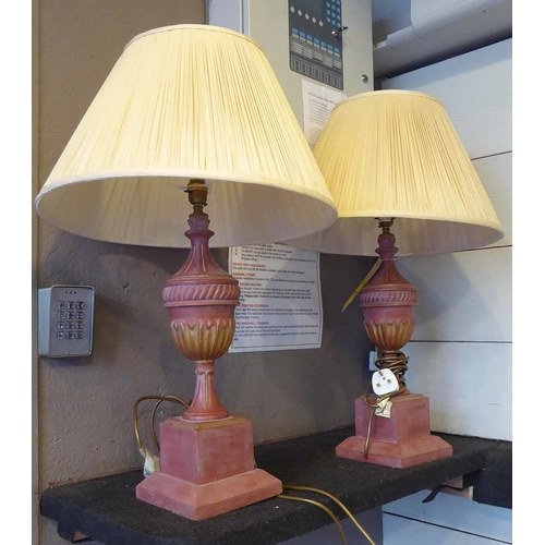 42 - ROCHAMP LTD TABLE LAMPS, a pair, with shades, urn form, 73cm H. (2)...