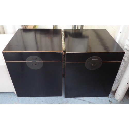 43 - TRUNKS, a pair, Chinese Shanxi style, ebonised finish, 50cm x 50cm x 62cm. (2) (slight faults)...