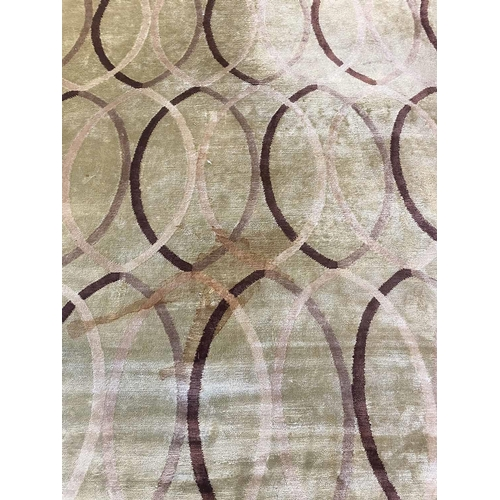 50 - THE RUG COMPANY, 365cm x 275cm, 'Infinity Green' by Allegra Hicks, hand knotted silk (no label and r...