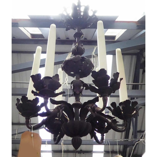 8 - CEILING PENDANT LIGHT, six branch, metal oak leaf design, 70cm drop. (slight faults)...