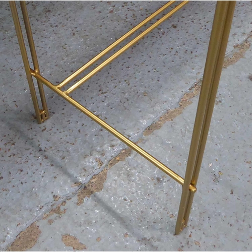 15 - CONSOLE TABLE, smoked glass top, gilt metal frame, 107.5cm x 33.5cm x 79cm....