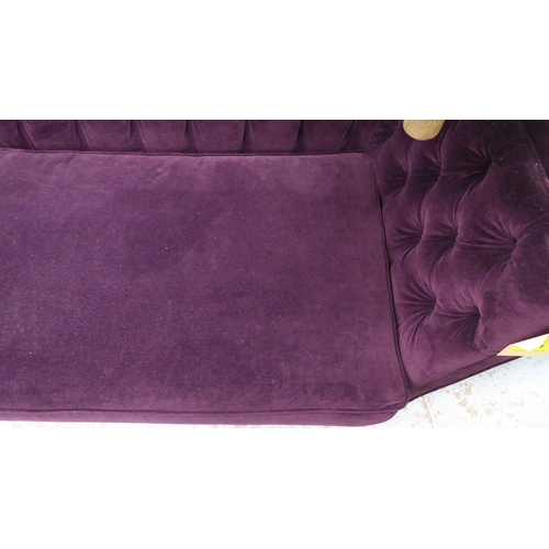 51 - SOFA, with a buttoned back, inner sides and purple upholstery on short turned supports, 154cm L x 79...