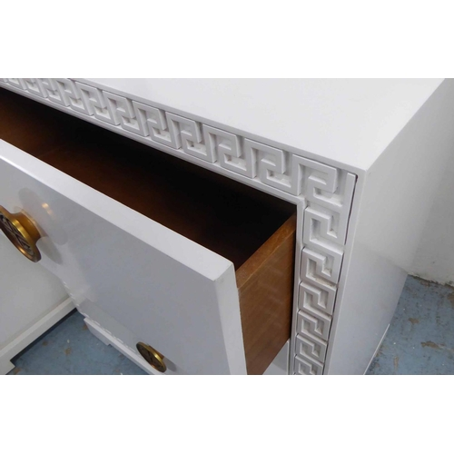 52 - SIDE CHESTS, a pair, white with greek key border and two drawers with decorative handles, 71cm x 46c...