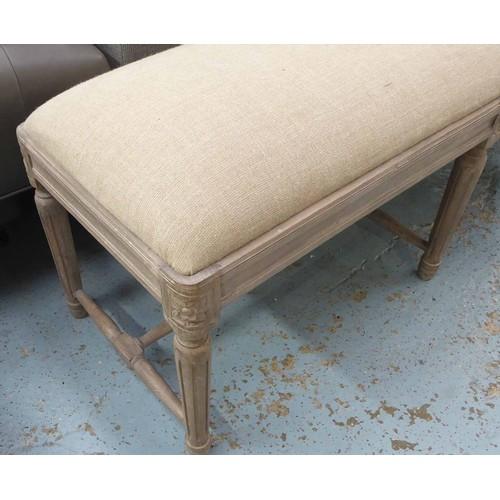 2 - WINDOW SEAT, limed frame, linen upholstered, 120cm x 40cm x 50cm....