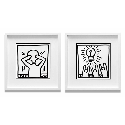 KEITH HARING 'Idea' and 'Light Bulb Man', 1982 a pair of lithographs, published by Tony Shafrazi Gallery NY, edition of 2000, 23cm x 23cm each, framed and glazed. (2)