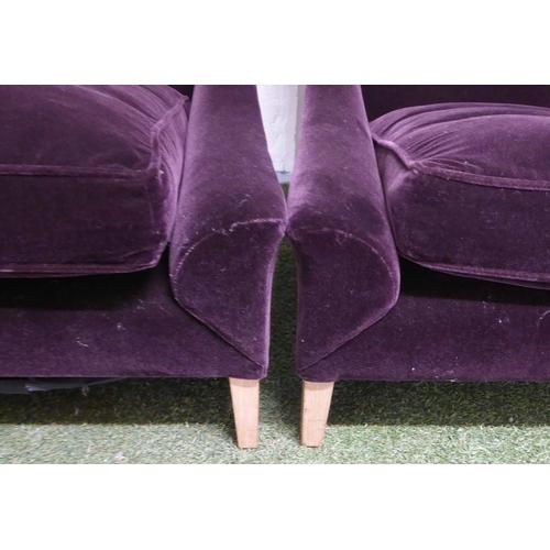 33 - LOUNGE CHAIRS, a pair, contemporary purple velvet finish, 93cm H. (2) (slight faults)...