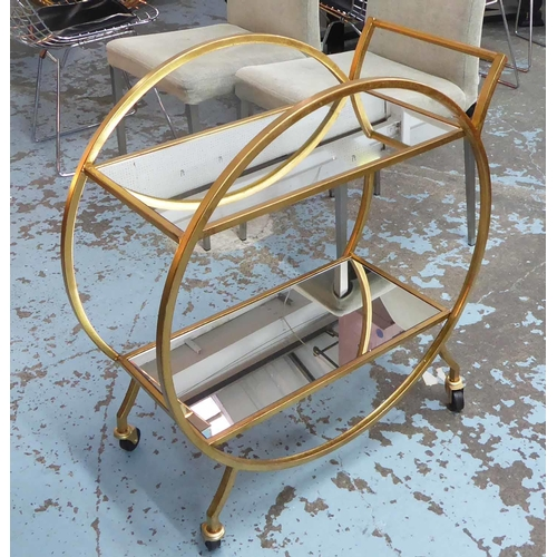 53 - DRINKS TROLLEY, French art Deco style, gilt metal, 76cm H x 70cm W x 36cm D approx....