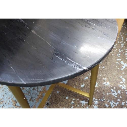 56 - SIDE TABLES, a pair, black marble tops, 44.5cm x 43cm diam. (2)...