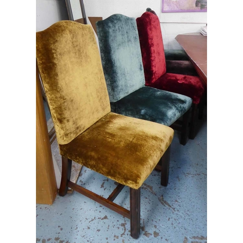 6 - DINING CHAIRS, a set of ten, in five differing colours of shimmering crushed velvet upholstery on ma...