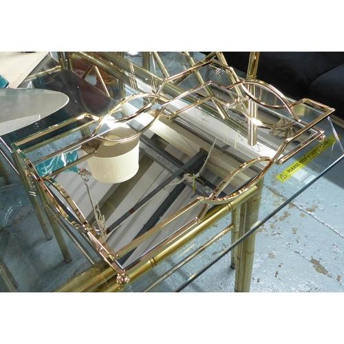 TRAYS, a pair, gilt metal and mirror, 45cm x 30cm x 7cm. (2)