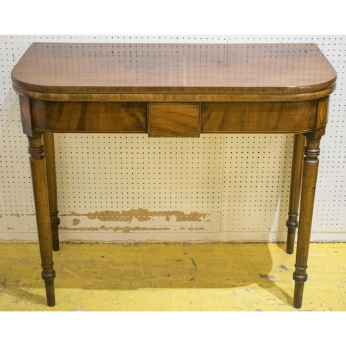 TEA TABLE, George III mahogany and inlaid, circa 1800, with D shaped foldover top, 75cm H x 92cm x 45cm.