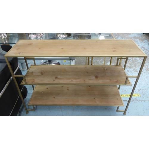 LOW ETAGERE, gilt metal, wooden shelves, 120cm x 35cm x 80cm.