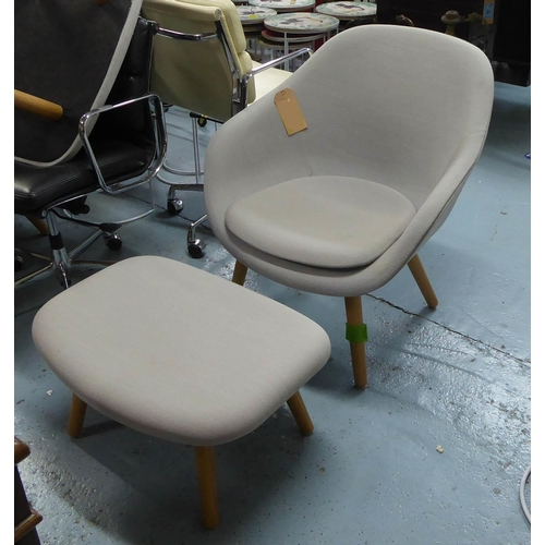 11 - LOUNGE CHAIR AND STOOL, contemporary design, tallest 81cm approx. (2) (slight faults)