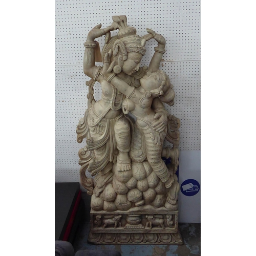 52 - RADHA KRISHNA, contemporary school carved wood study, 150cm H.