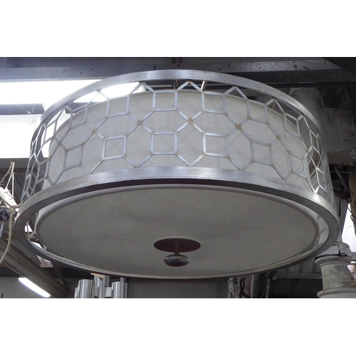 19 - TAYLOR HOWES CEILING LAMP, silvered metal in a slightly distressed finish, 85cm Diam x 26cm H....