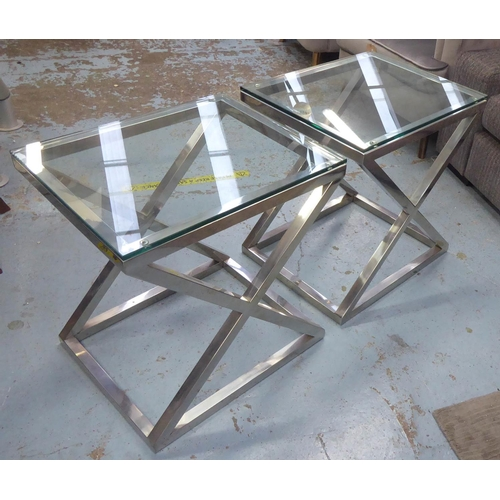 41 - EICHHOLTZ CRISS CROSS SIDE TABLES, a pair, each with a rectangular glass top, 56cm W x 59cm H x 46cm...