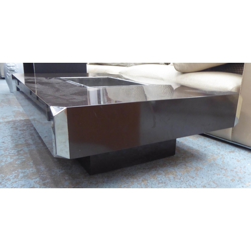 44 - AFTER WILLY RIZZO ALVEO TABLE, Vintage with a central bar compartment, 130cm W x 33cm H x 80cm D. (w...