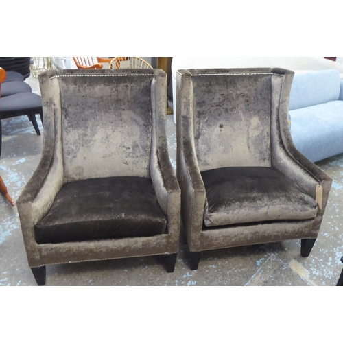 47 - ARMCHAIRS, a pair, with brown upholstery and studded detail, 74cm W. (2) (with faults)...