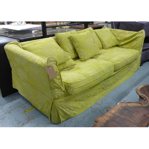 50 - FLAMANT SOFA, green floral fabric finish, 225cm W. (with slight faults)