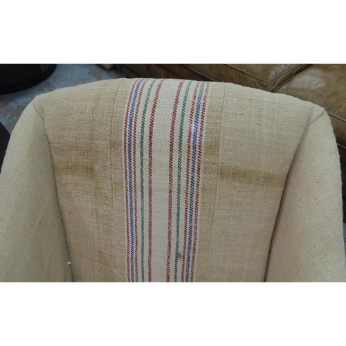 60 - ARMCHAIR, in a striped sacking linen style fabric, 70cm W....