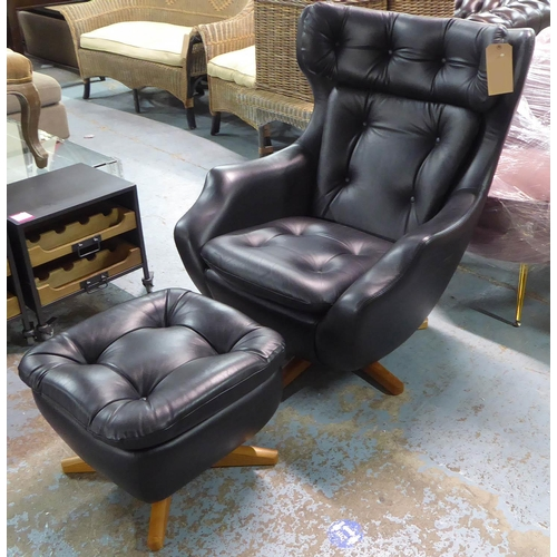 7 - PARKER KNOLL STATESMAN CHAIR AND STOOL, 85cm W. (2)...