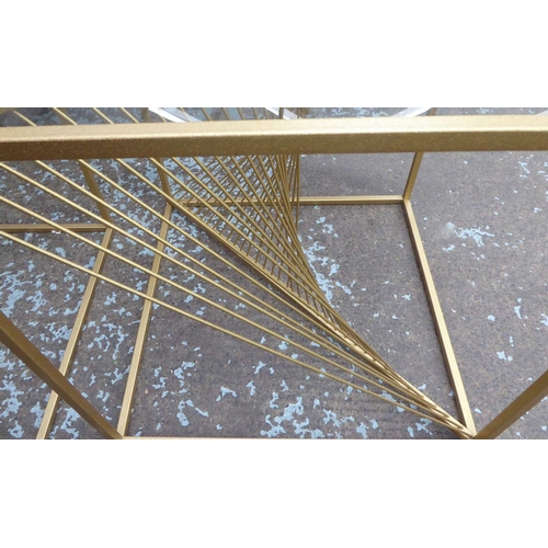 51 - SIDE TABLES, a pair, helix design bases, gilt metal and glass, 52cm x 52cm x 52cm. (2)