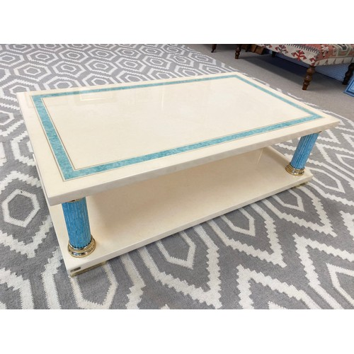 MAVILLE INTERIORS FRANCE LOW TABLE, 1970's lacquer, faux turquoise marble and brass collared with two tiers on column supports, 36cm H x 120cm W x 71cm D.