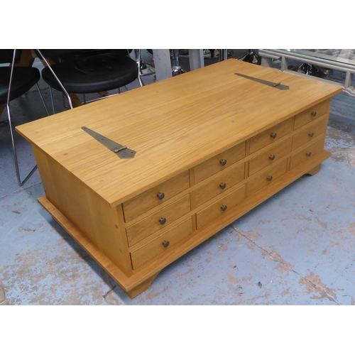 42 - LOW TABLE, contemporary ash, with bank of drawers to one side and lift up top, 118cm x 66cm x 43cm....