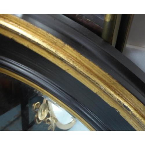 14 - WALL MIRROR, Regency style, ebonised frame, 80cm diam. (with faults)