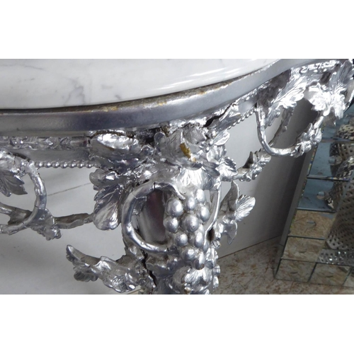 32 - CONSOLE TABLE, continental style, silvered base, marble top, 68cm x 36cm x 91cm....