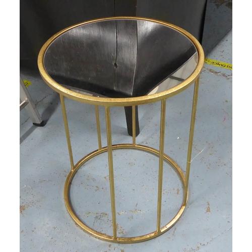 47 - SIDE TABLES, a pair, contemporary design, gilt metal and glass, 51.5cm H x 40.5 Diam. (2)...