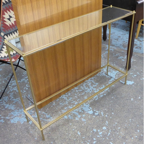 58 - CONSOLE TABLE, gilt metal with glass top, 102cm x 27cm x 77cm....
