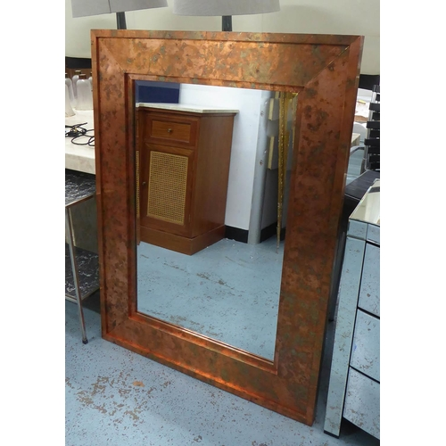 60 - WALL MIRROR, coppered finish frame, 122cm x 91cm....