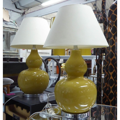 15 - TABLE LAMPS, a pair, contemporary Gourd vase design, with shades, 66cm H. (2)...