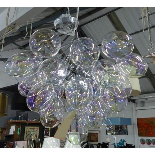 BUBBLE CHANDELIER, contemporary iridescent glass, 52cm drop minus chain.