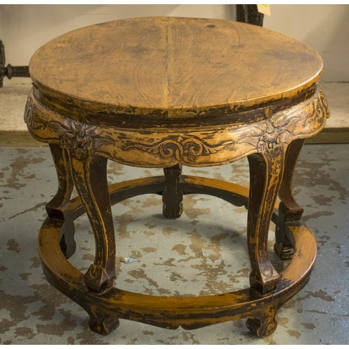 CENTRE TABLE, 19th century Chinese elm with a circular top, 82cm diam x 69cm H. (with faults)