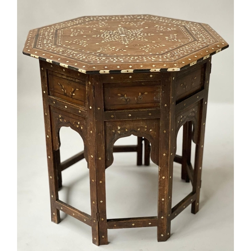 HOSHIARPUR OCCASIONAL TABLE, late 19th century North Indian octagonal hardwood and bone inlaid with conforming base, 54cm x 52cm H.