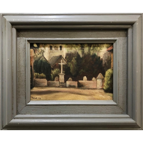 J. PALMER 'View towards a Church', oil on board, 1928, signed and dated, 11.5cm x 16.5cm, framed.
