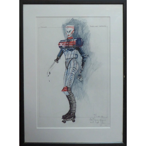 JOHN NAPIER 'Cats' and 'Starlight Express' costumes designs, five sketches on paper, designed for the Andrew Lloyd Weber musicals, donated by the artist to the present owner, four are 39.5cm x 29cm, one is 38cm x 51.5cm, framed and glazed. (5)