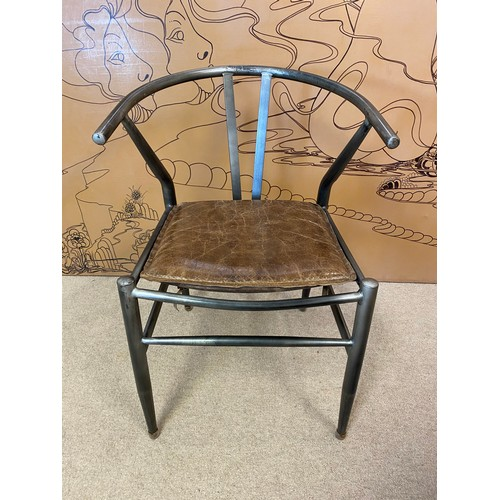 25 - AFTER HANS J WEGNER WISHBONE STYLE DESK CHAIR, vintage steel framed with stitched brown leather seat...